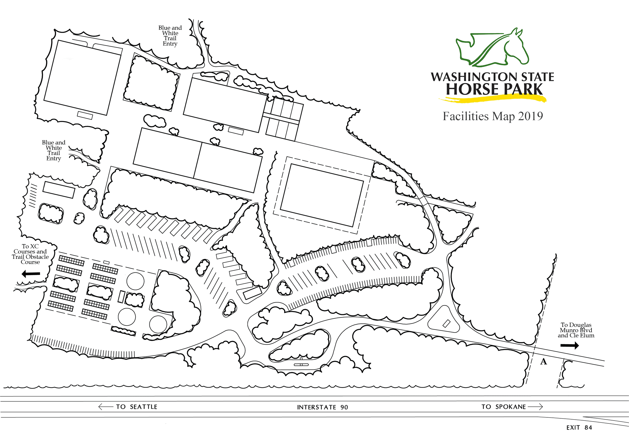 Map of Washington State Horse Park facilities for 2019